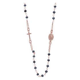 Rosario girocollo di cristalli AMEN argento 925 rosé s1