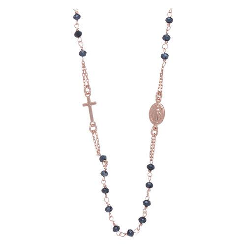 Rosario girocollo di cristalli AMEN argento 925 rosé 1
