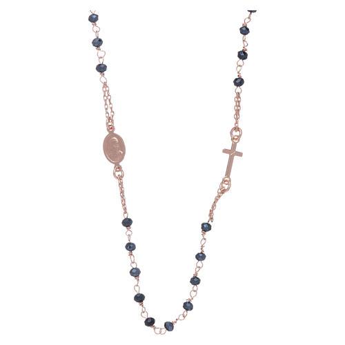 Rosario girocollo di cristalli AMEN argento 925 rosé 2