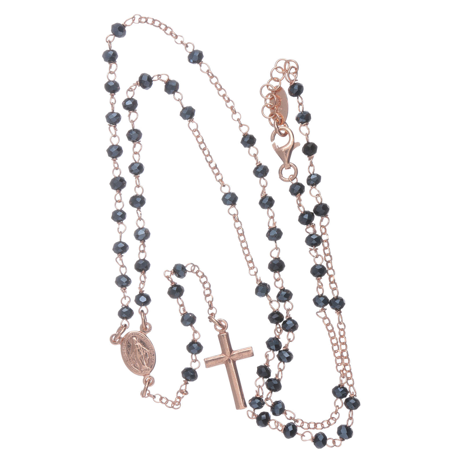 Classic rosary AMEN in 925 sterling silver rosè with crystals 4