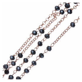 Classic rosary AMEN in 925 sterling silver rosè with crystals s3