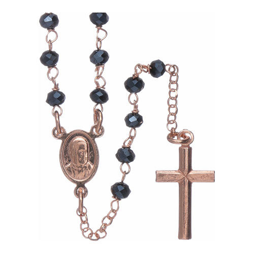 Classic rosary AMEN in 925 sterling silver rosè with crystals 2