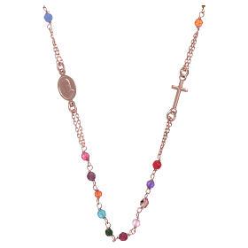 Girocollo rosario AMEN agata 2 mm argento 925 rosé s1