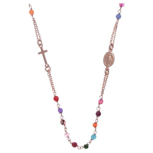 Girocollo rosario AMEN agata 2 mm argento 925 rosé 2