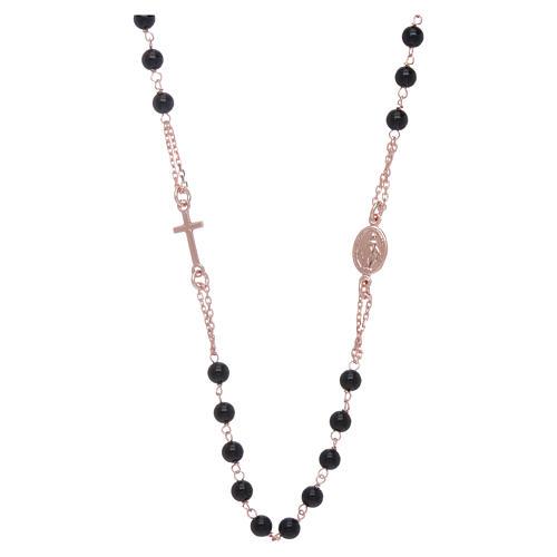 Girocollo rosario AMEN agata 3 mm rosé argento 925 1