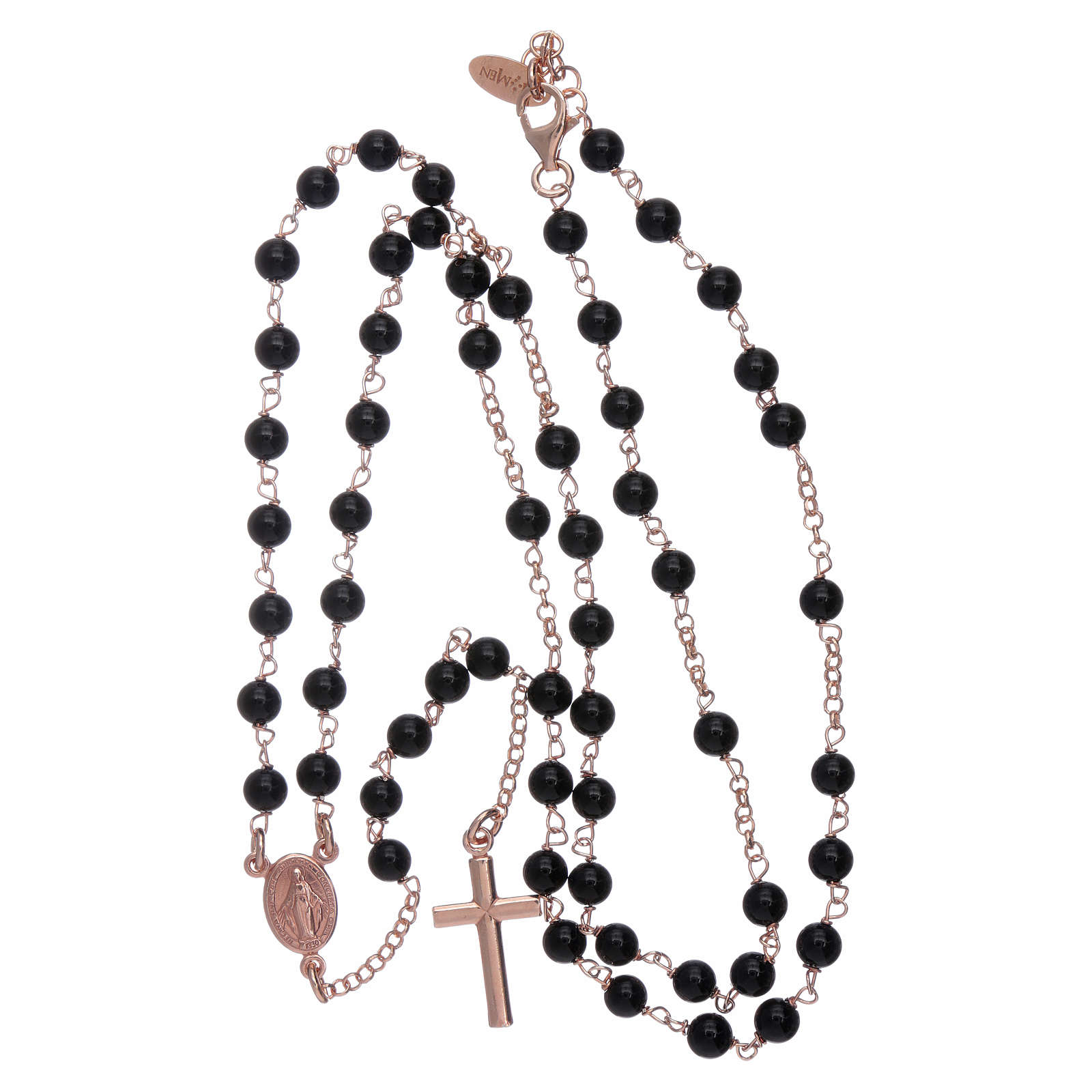 Classic AMEN rosary in 925 sterling silver rosè with 3 mm agate beads 4