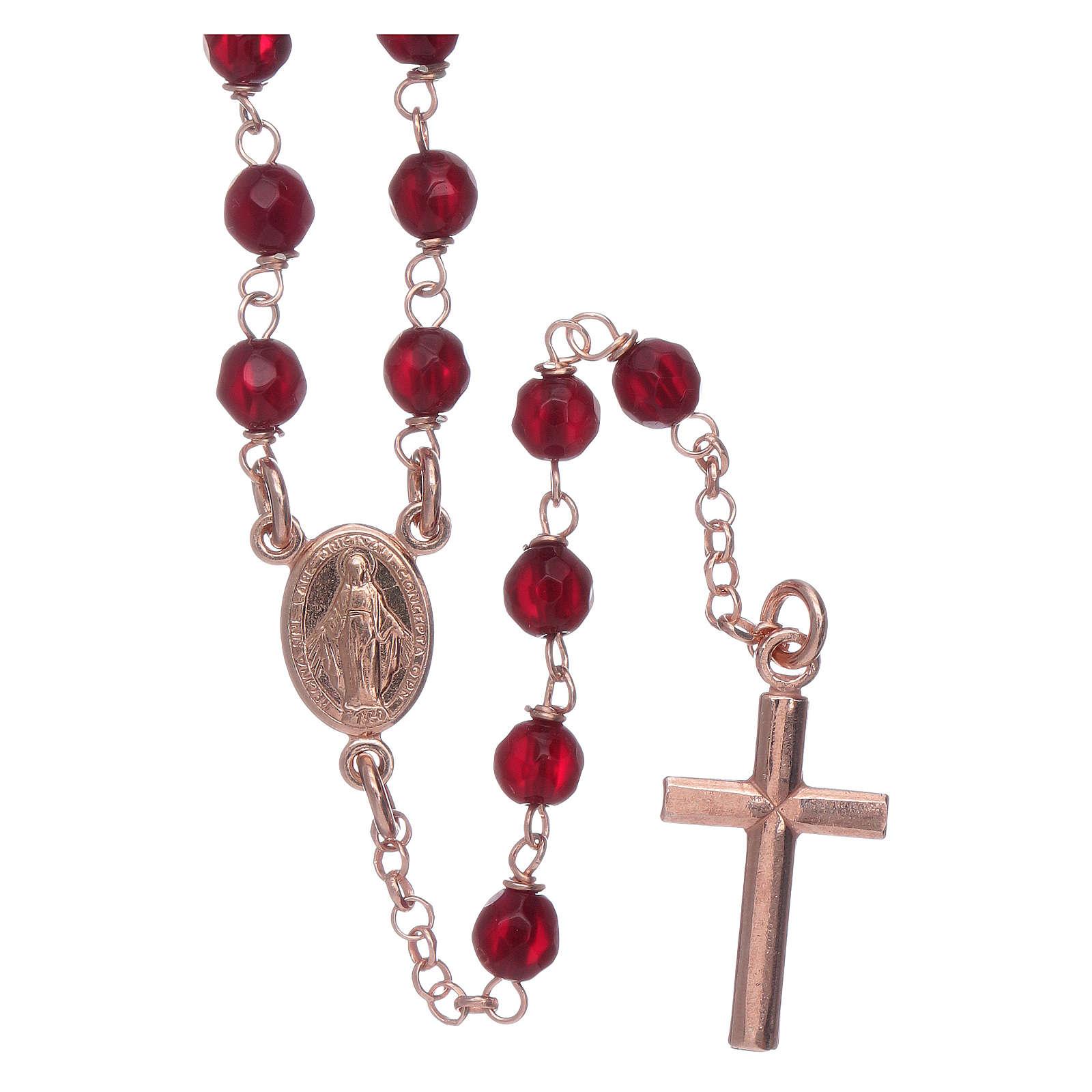 Clásico rosario AMEN rosado plata 925 ágata 3 mm 4