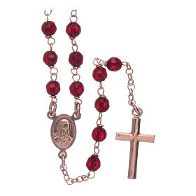 Classic rosary AMEN rosè in 925 sterling silver and 3 mm agate beads s2