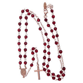Classic rosary AMEN rosè in 925 sterling silver and 3 mm agate beads s4