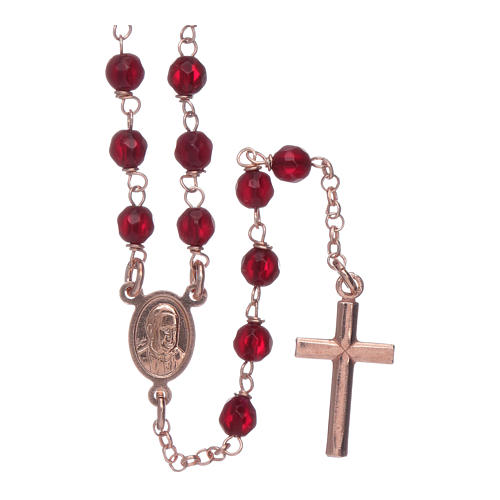 Classic rosary AMEN rosè in 925 sterling silver and 3 mm agate beads 2