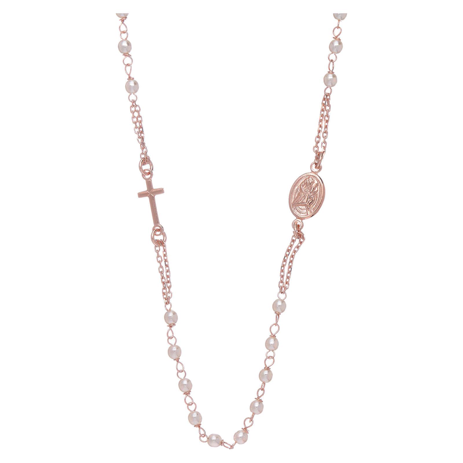 Gargantilla rosario perlas Swarovski AMEN plata 925 oro 4