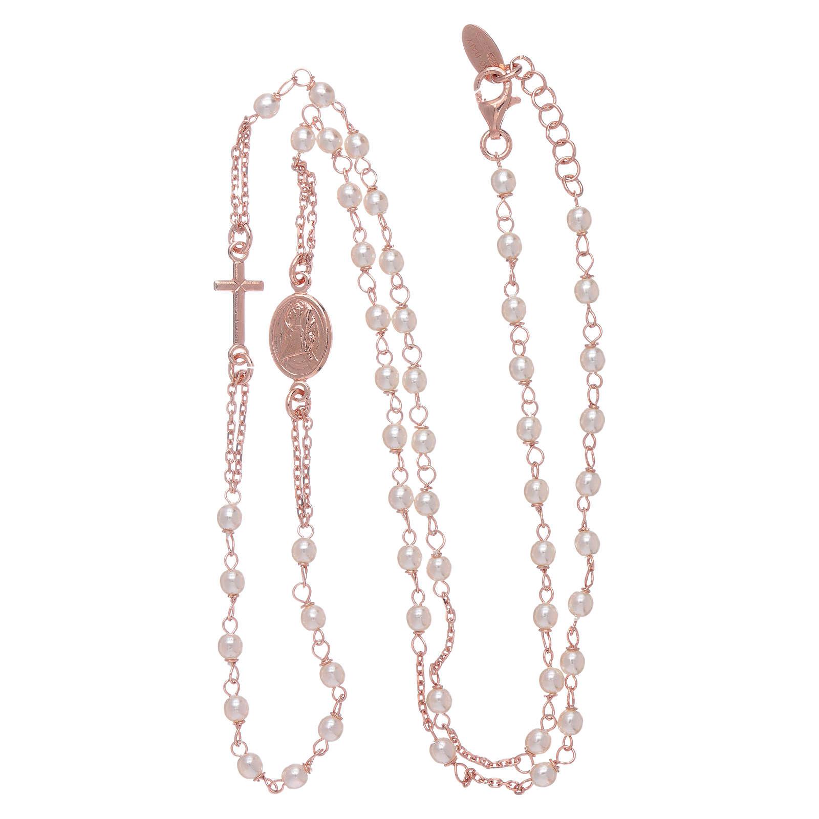 Girocollo rosario perle Swarovski AMEN argento 925 oro 4