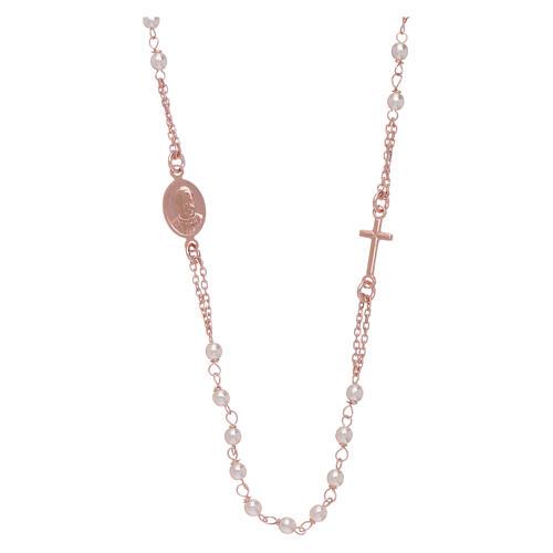 Girocollo rosario perle Swarovski AMEN argento 925 oro 2