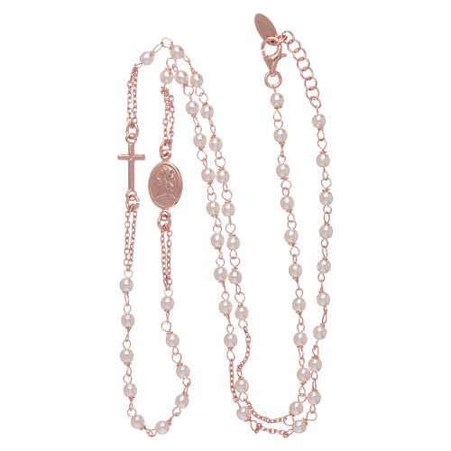 Girocollo rosario perle Swarovski AMEN argento 925 oro 3