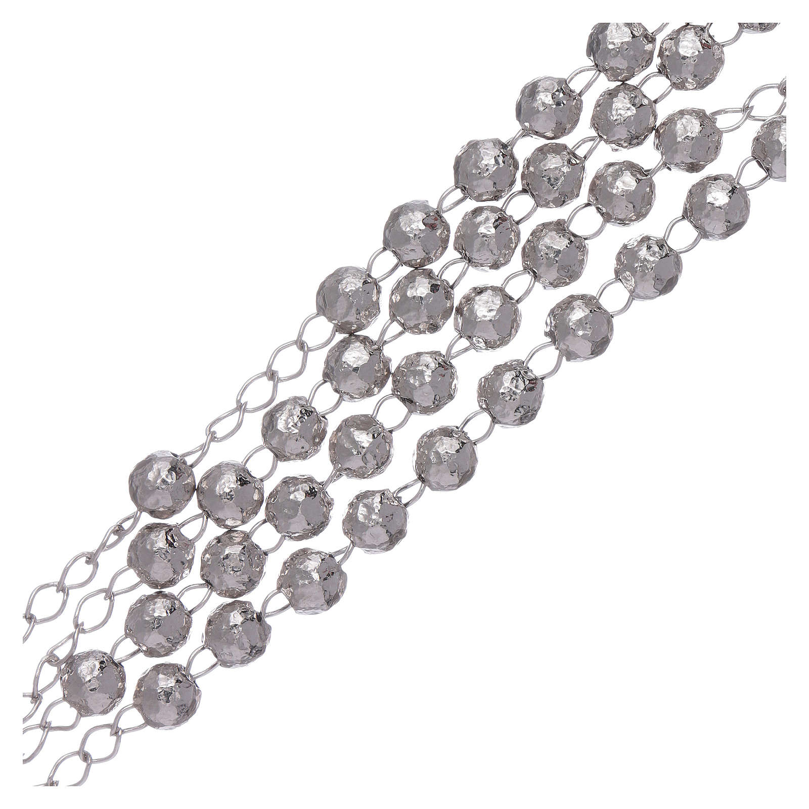 AMEN classic rosary in 925 sterling silver finished in rhodium and 4 mm spheres 4