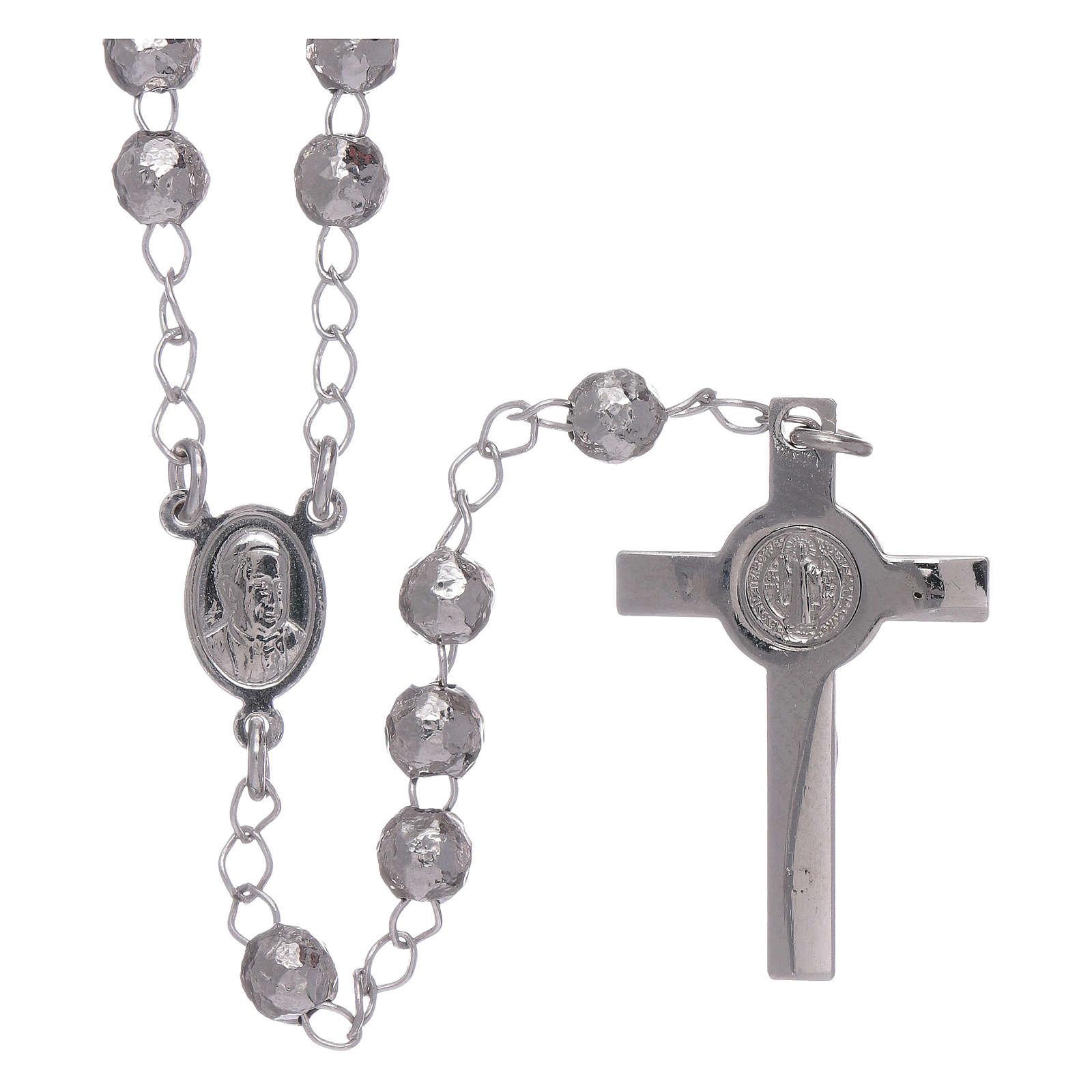 Rosario AMEN clásico rodiado plata 925 esferas 4 mm 4