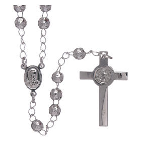 AMEN classic rosary in 925 sterling silver finished in rhodium and 4 mm spheres s2
