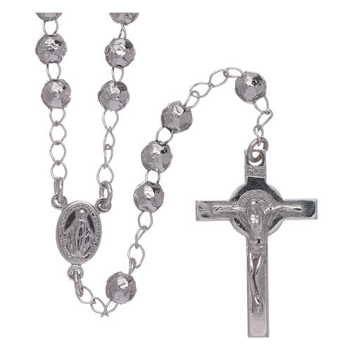 AMEN classic rosary in 925 sterling silver finished in rhodium and 4 mm spheres 1