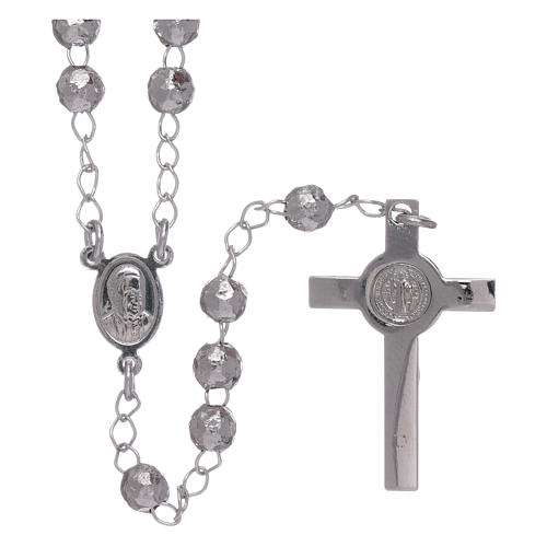 AMEN classic rosary in 925 sterling silver finished in rhodium and 4 mm spheres 2