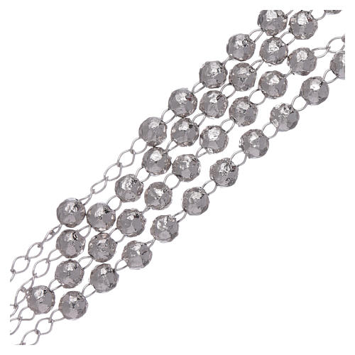 AMEN classic rosary in 925 sterling silver finished in rhodium and 4 mm spheres 3