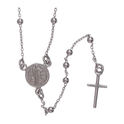 Classic rosary AMEN in 925 sterling silver Saint Benedict 1