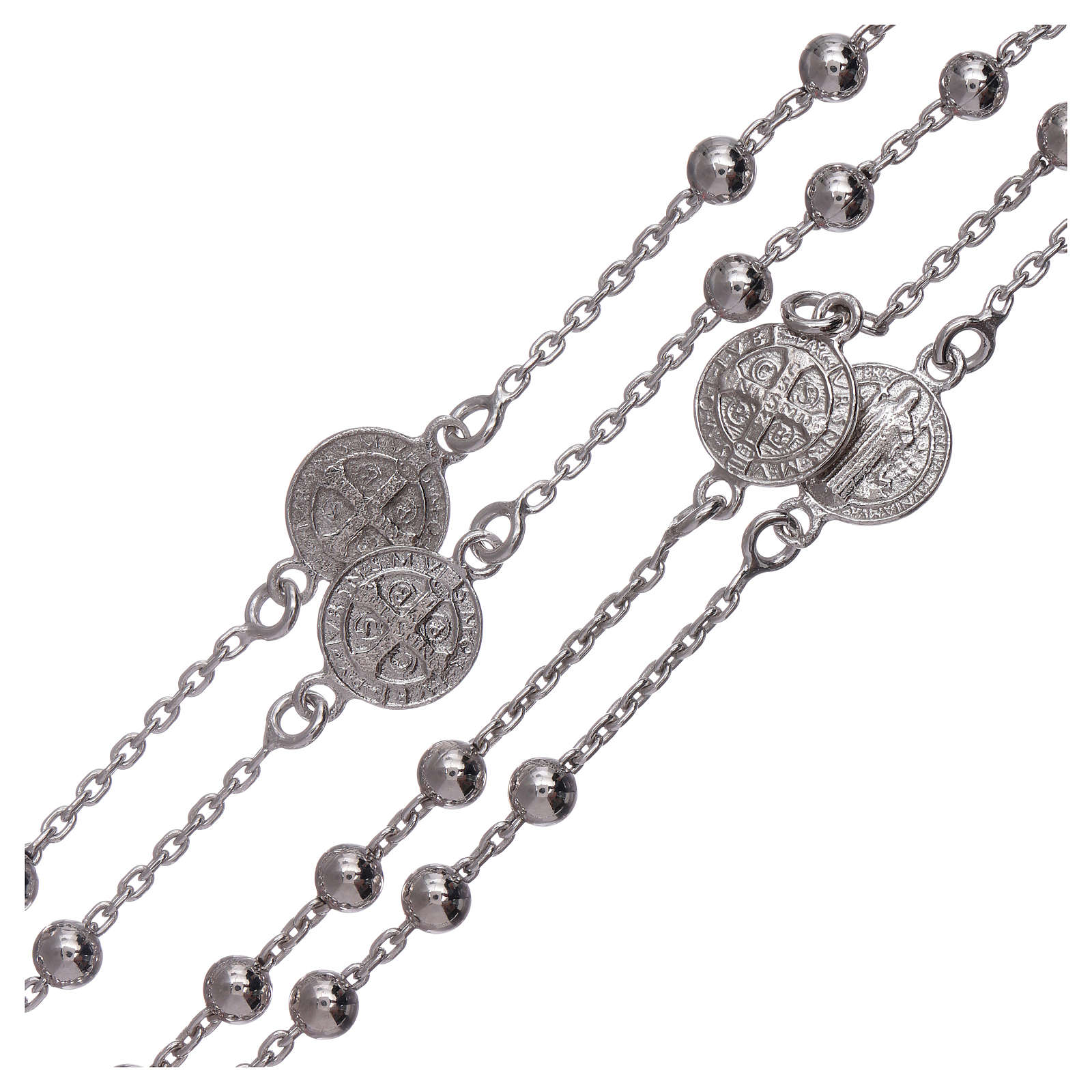 Classic rosary Saint Benedict in 925 sterling silver with 3 mm hematite spheres AMEN 4