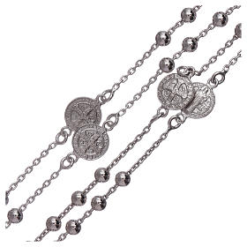 Classic rosary Saint Benedict in 925 sterling silver with 3 mm hematite spheres AMEN s3