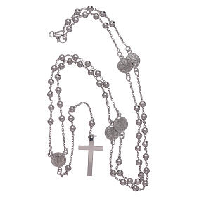 Classic rosary Saint Benedict in 925 sterling silver with 3 mm hematite spheres AMEN s4