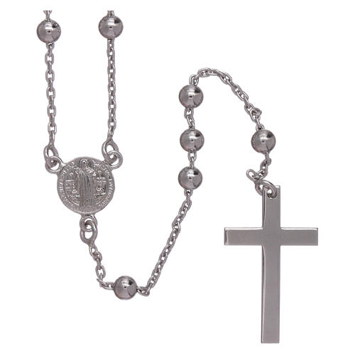 Classic rosary Saint Benedict in 925 sterling silver with 3 mm hematite spheres AMEN 1