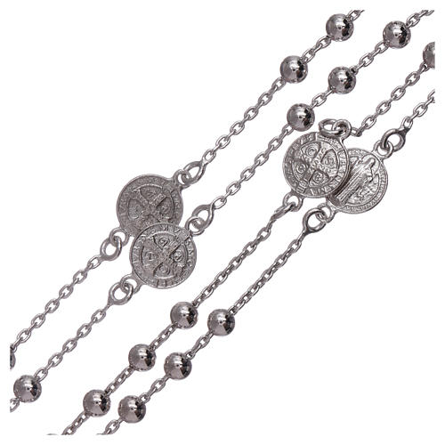 Classic rosary Saint Benedict in 925 sterling silver with 3 mm hematite spheres AMEN 3