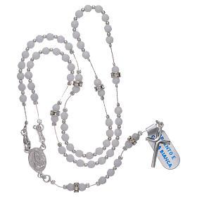 Chapelet centenaire Notre-Dame de Fatima argent 925 et jade blanche s4