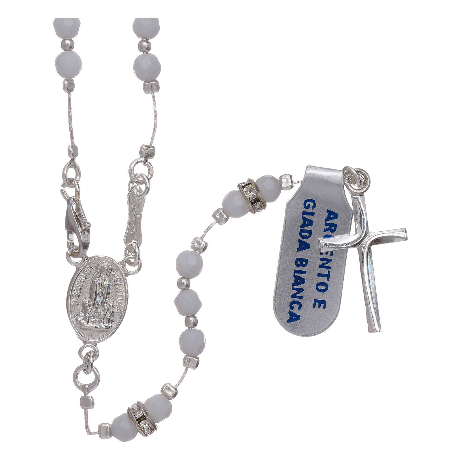 Rosary Our Lady of Fatima's centenary in 925 sterling silver and white jade 4