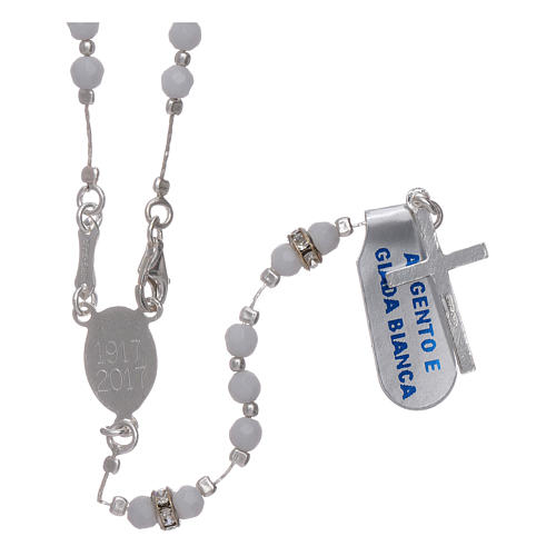 Rosary Our Lady of Fatima's centenary in 925 sterling silver and white jade 2