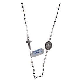 Rosario girocollo Madonna Miracolosa arg 925 e zirconi s1