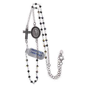 Rosario girocollo Madonna Miracolosa arg 925 e zirconi s3