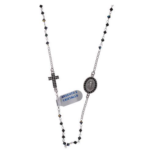 Rosario girocollo Madonna Miracolosa arg 925 e zirconi 1