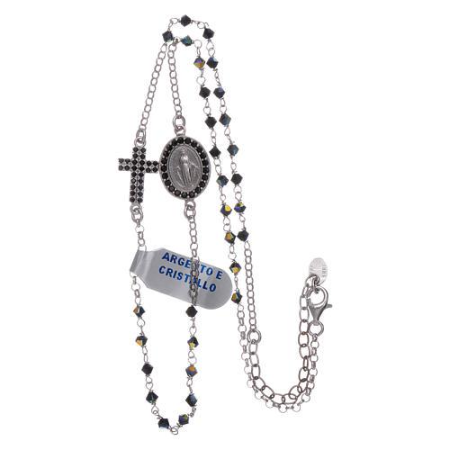 Rosario girocollo Madonna Miracolosa arg 925 e zirconi 3