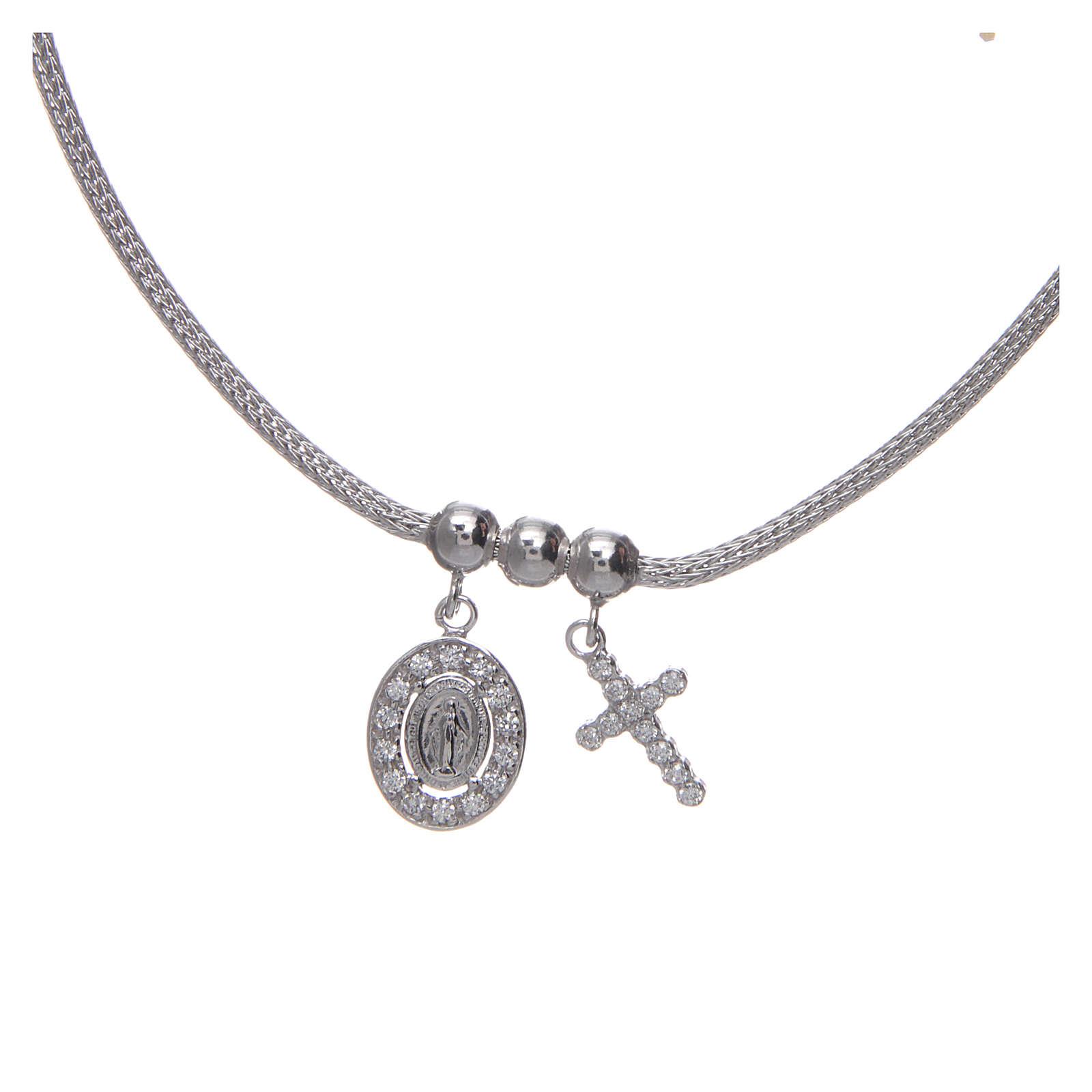 Collar de Plata 925 rodiada medalla Milagrosa y Cruz con cuentas strass 4