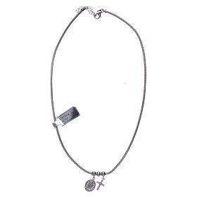 Collar de Plata 925 rodiada medalla Milagrosa y Cruz con cuentas strass s3