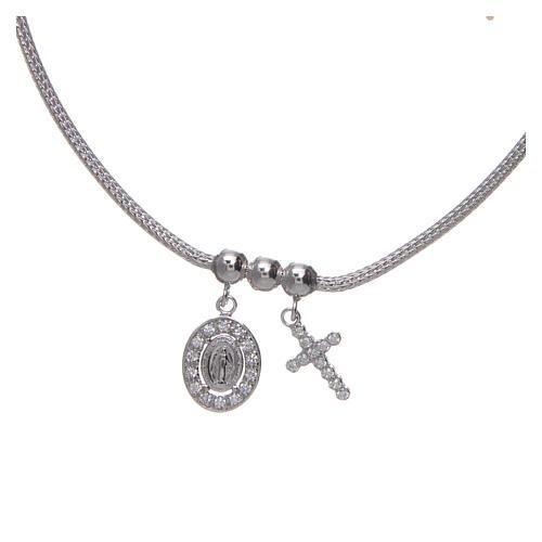 Collar de Plata 925 rodiada medalla Milagrosa y Cruz con cuentas strass