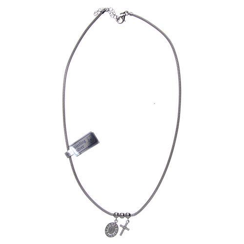 Collar de Plata 925 rodiada medalla Milagrosa y Cruz con cuentas strass 3