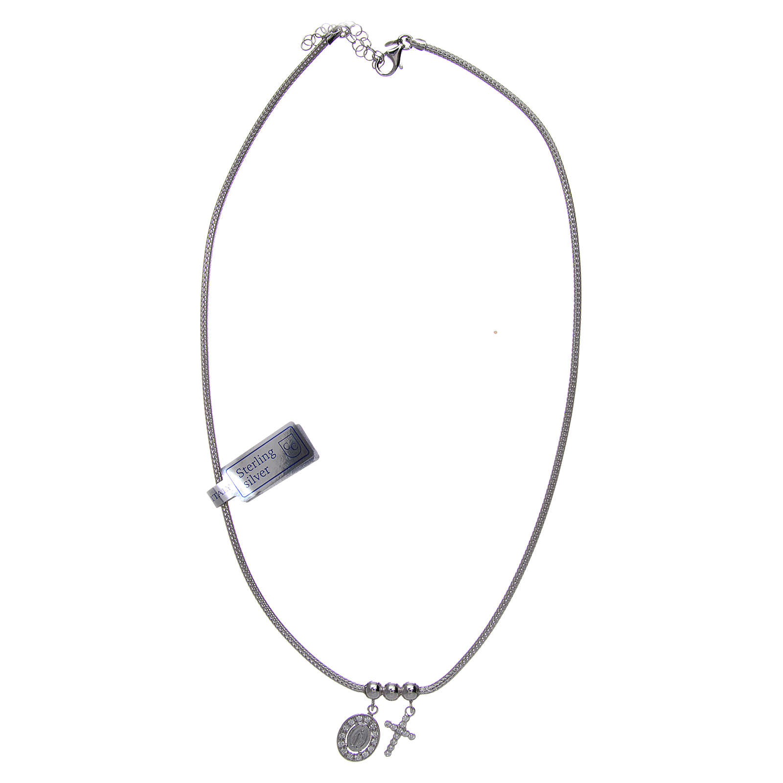 Necklace in in 925 sterling silver finished in rhodium, with Miraculous medalet and a cross with strass 4