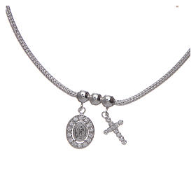 Necklace in in 925 sterling silver finished in rhodium, with Miraculous medalet and a cross with strass s2