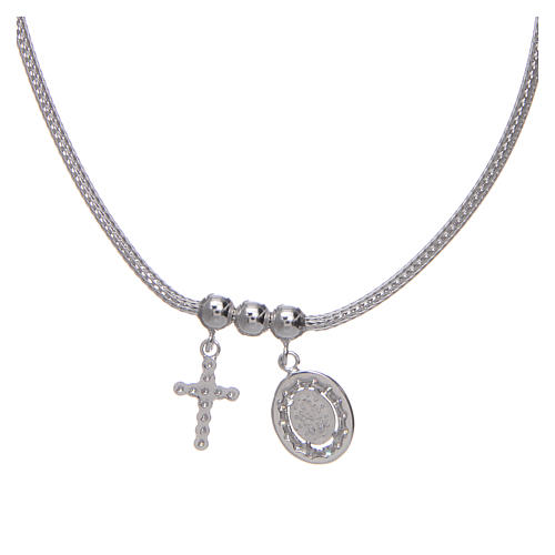 Necklace in in 925 sterling silver finished in rhodium, with Miraculous medalet and a cross with strass 1