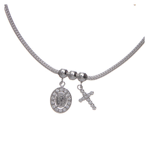 Necklace in in 925 sterling silver finished in rhodium, with Miraculous medalet and a cross with strass 2