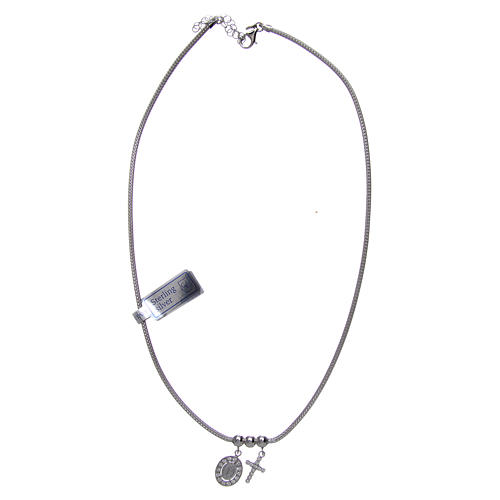 Necklace in in 925 sterling silver finished in rhodium, with Miraculous medalet and a cross with strass 3