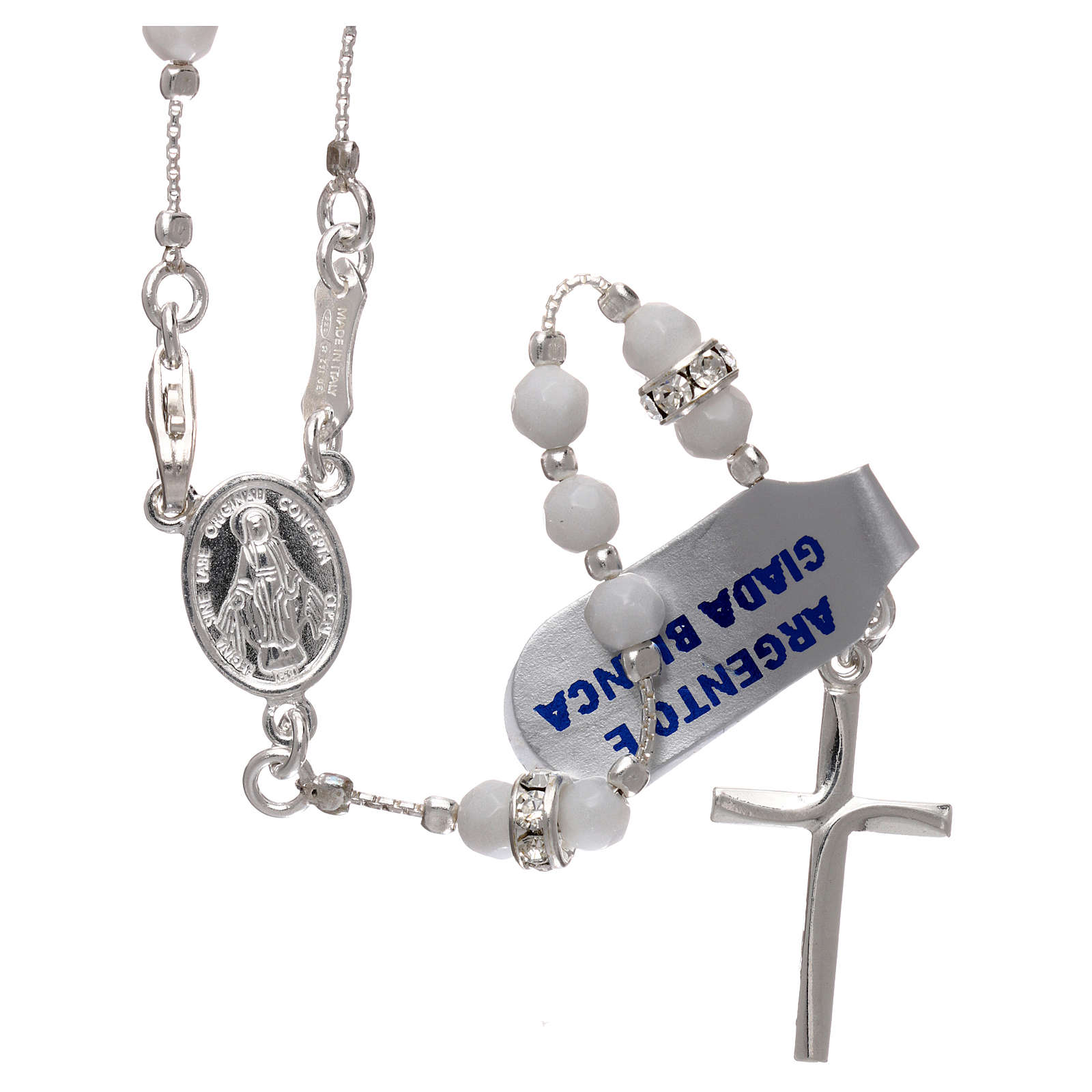 Rosary in 925 sterling silver with white jade grains 4 mm 4