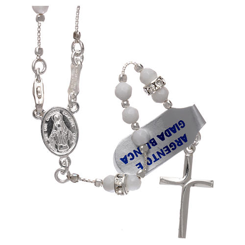 Rosary in 925 sterling silver with white jade grains 4 mm 1