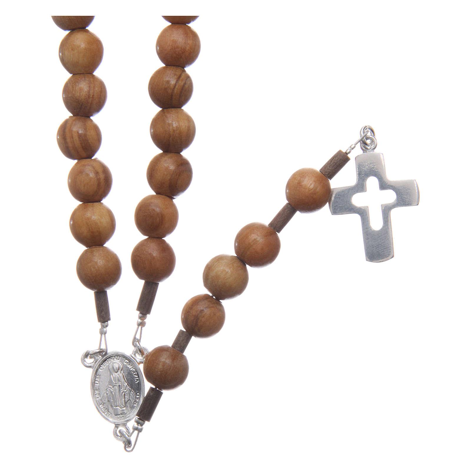 Rosenkranz für Mann Silber 925 Olivenholz Perlen 4