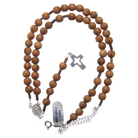 Olive wood rosary beads for men with sterling silver cross and adjustable chain s4